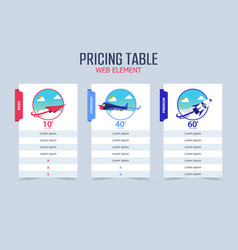pricing table 3 different plane template design vector image