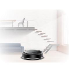 Realistic robotic vacuum cleaner interior vector