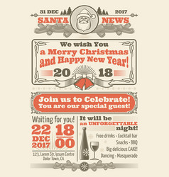 Retro christmas newspaper with xmas typography and vector