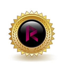 Revain cryptocurrency coin gold badge vector