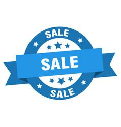 sale ribbon sale round blue sign sale vector image
