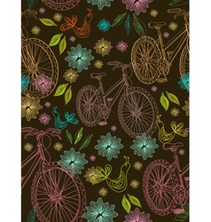 seamless floral background with bikes vector image