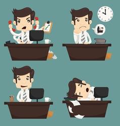 Set businessman sitting on desk office worker vector