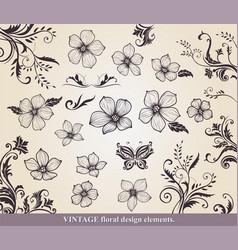 set flower design elements vector image