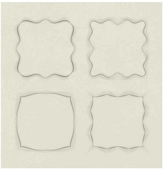 set of 4 unusual frames in cut of paper style on vector image