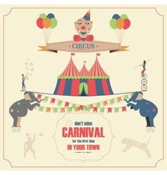 Set of Circus Flat Icons vector image