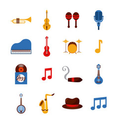 set of icons jazz music elements concept vector image