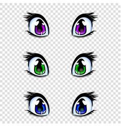 Set of manga anime style eyes in green blue vector