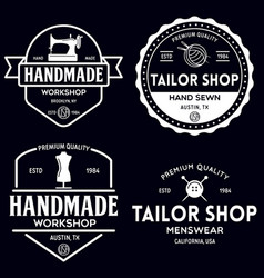 set vintage sewing and tailor labels badges vector image