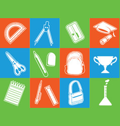 silhouette back school stationery supplies stencil vector image