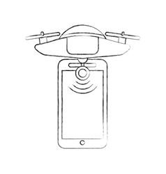 smartphone with drone remote control app vector image