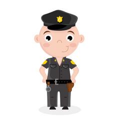 Smiling little boy in police officer uniform vector