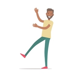 Smiling Man Standing on One Leg Shopping vector