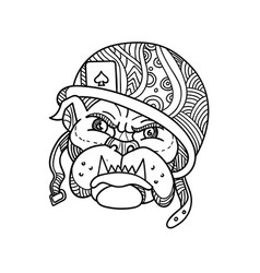Soldier bulldog ace of spade mono line vector