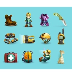 Speleology 3d icons set vector