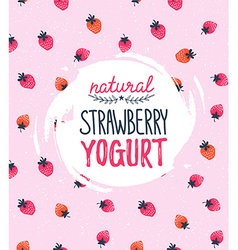 Strawberry Yogurt logo on the strawberry vector image