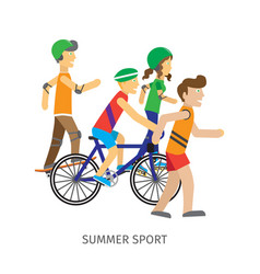 summer sport children going in for sport vector image