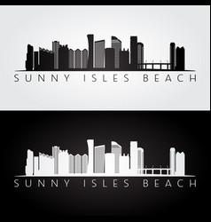 Sunny isles beach usa skyline and landmarks vector