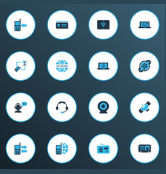 Telecommunication icons colored set with ip camera vector