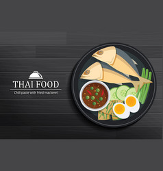 Thai food in the dish on black wooden table top vector