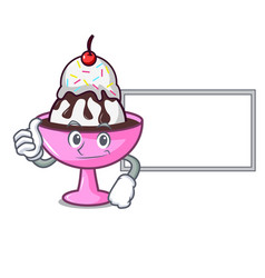 Thumbs up with board ice cream sundae character vector