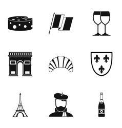 Tourism in France icons set simple style vector