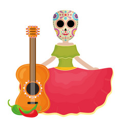 traditional katrina with guitar and chilli peper vector image