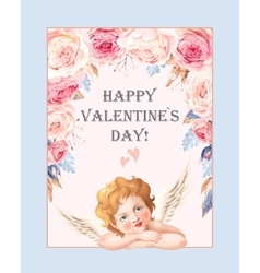 Valentines day card with roses and cupid vector