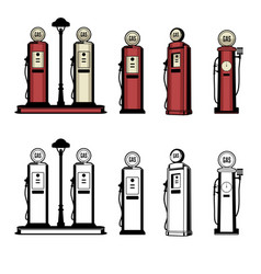 vintage gas stations vector image