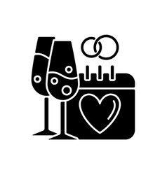 Wedding anniversary black glyph icon vector