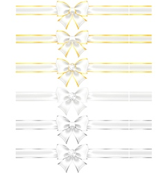 White bows with gold and silver vector