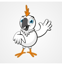 White funny cartoon hilarious parrot isolated on vector image