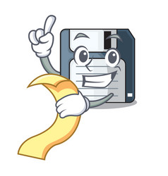 With menu floppy disk in the character funny vector