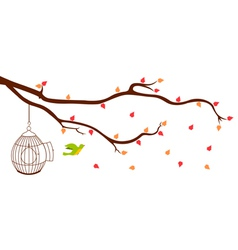 Bird leaving cage from Tree Branch vector image vector image