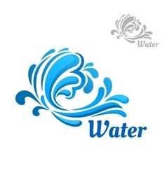 Blue wave with water splashes and drops vector