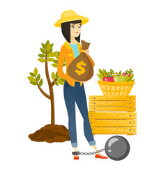 chained asian farmer holding a money bag vector image vector image