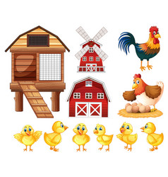 chickens and cicken coops vector image vector image