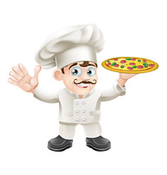 italian pizza chef cartoon vector image vector image