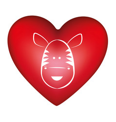 red heart shape with silhouette face cute zebra vector image
