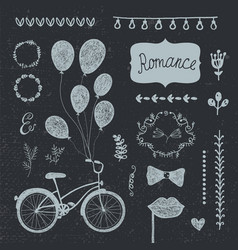 vintage set of hand drawn romantic design vector image