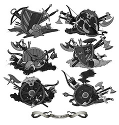 shields medieval hand drawing vector image vector image