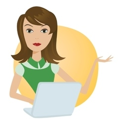 Working Woman with laptop office notebook computer vector image vector image