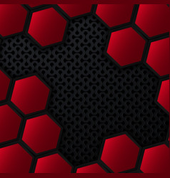 black and red metal background with hexagons vector image