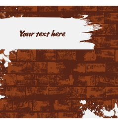 Brick wall background with paint stroke vector image vector image