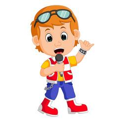cute boy singing vector image
