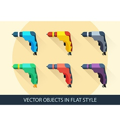 Set of drills in flat style with a long shadow vector