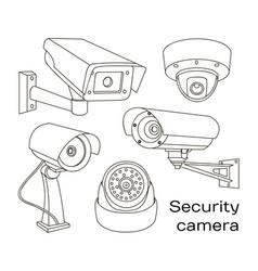 Set of security camera vector