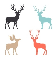 Silhouette deer with great antler animal vector image