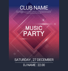 square shape music party edm poster electronic vector image