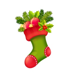 Christmas realistic stocking full of presents vector image
